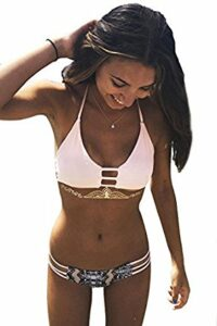 Cupshe Fashion Women's Lace Up Stripe Strappy Bikini Set