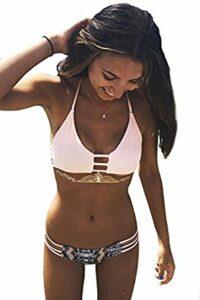 Cupshe Fashion Women's Lace Up Stripe Strappy Bikini Set