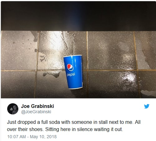 Man Spills Soda on Stranger in Public Bathroom, Begs Twitter for Help