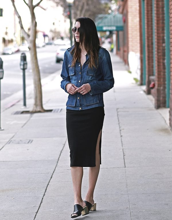 cargo denim jacket with side split skirt casual outfit bmodish