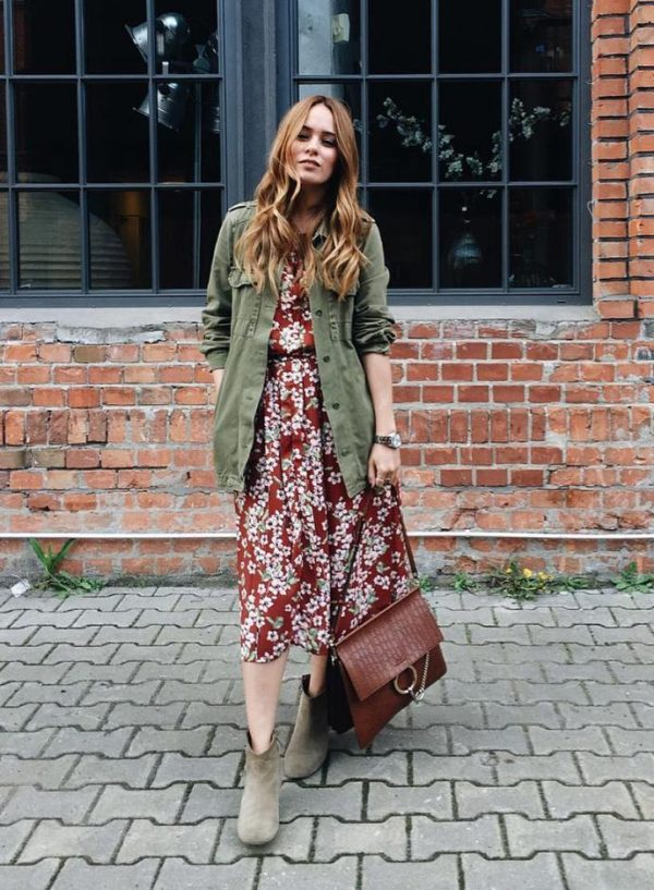 cargo jacket with boho dress outfit bmodish