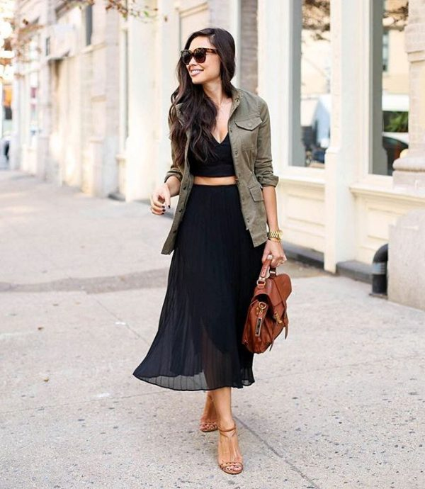 cargo jacket with midi skirt and crop top bmodish