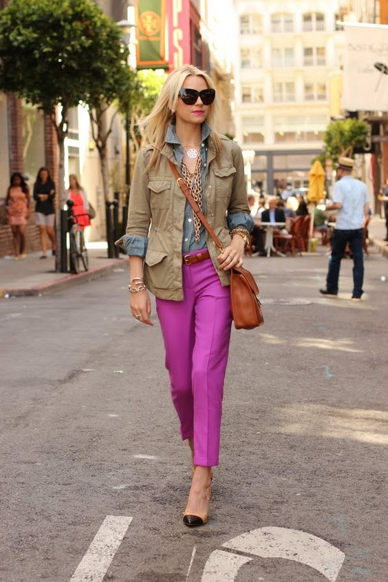cargo jacket with purple pants