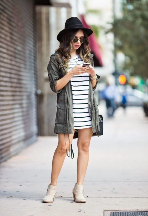 cargo jacket with striped summer dress bmodish