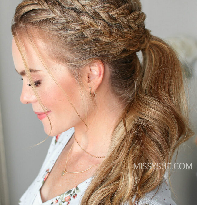Lace + Dutch Braid Ponytail | Hair Tutorial