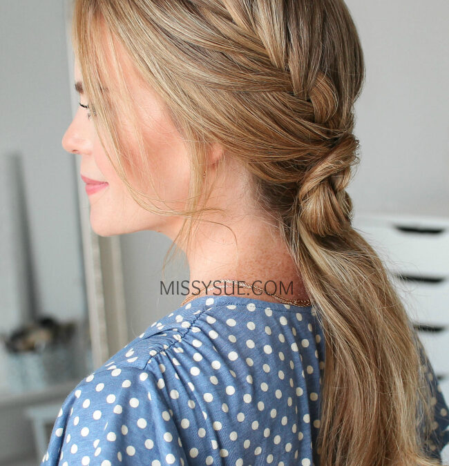 Double Fishtail French Braid Flower Ponytail