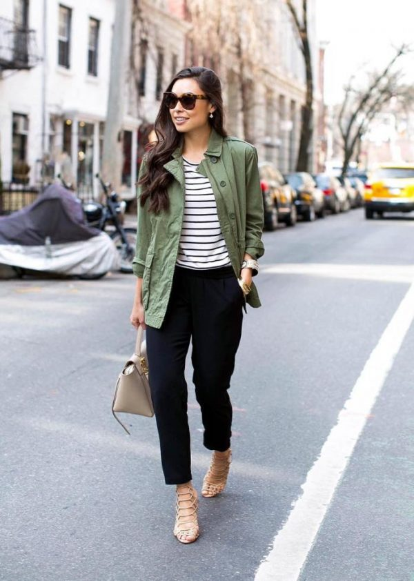 green cargo jacket casual spring outfit bmodish