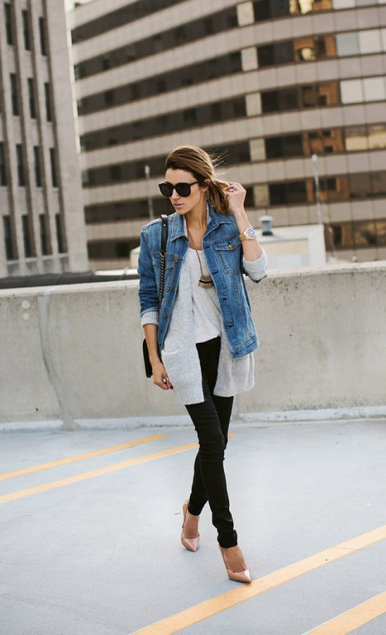 grey knit long cardigan outfit bmodish