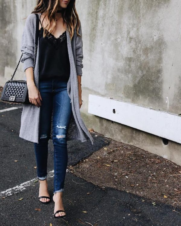 grey long cardigan outfits with cami top fall outfit bmodish