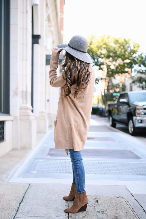 grey wool hat tan cardigan fall outfit inspiration bmodish