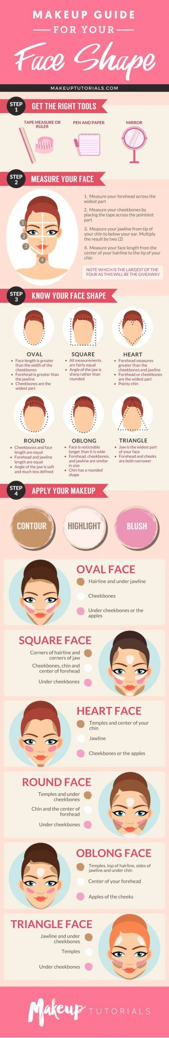 Inforgraphic | How To Contour Your Face Depending On Your Face Shape
