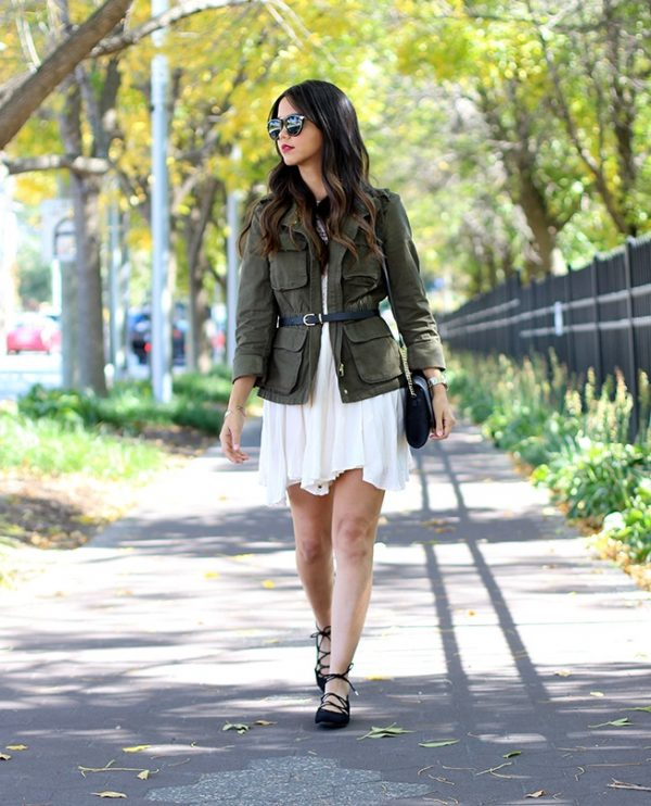 layering cargo jacket with dress bmodish