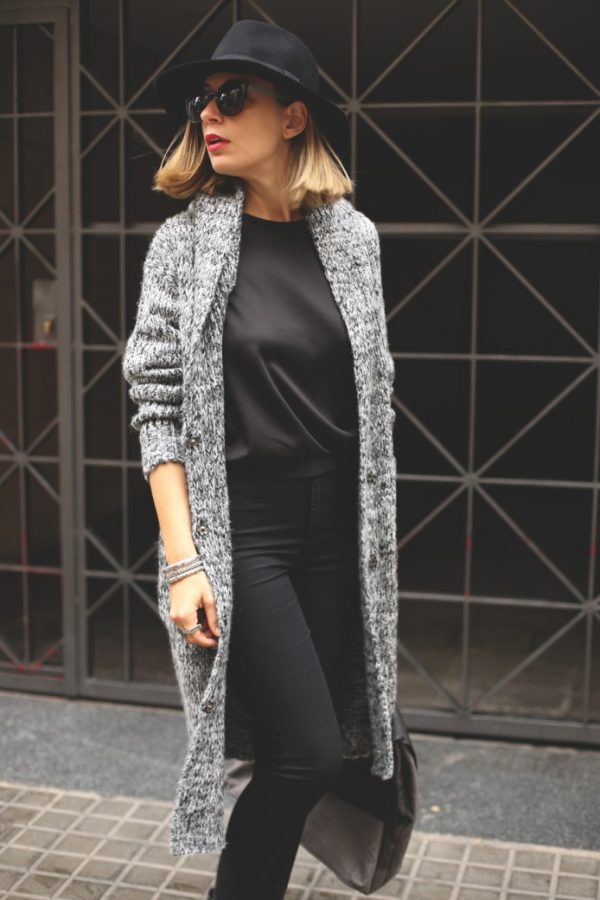 long grey knitted cardigan bmodish