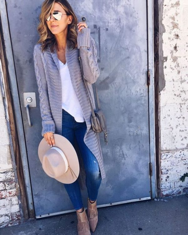 long knit grey cardigan casual fall outfit bmodish