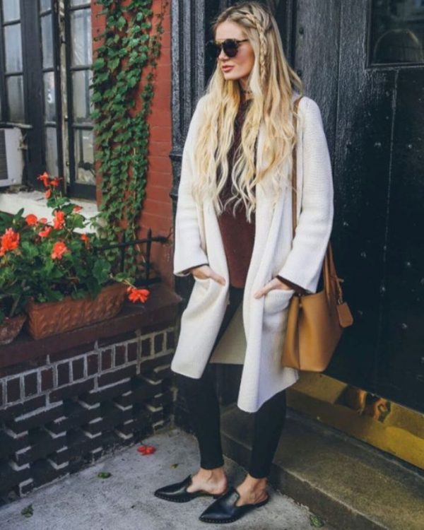 long white cardigan casual fall outfit bmodish