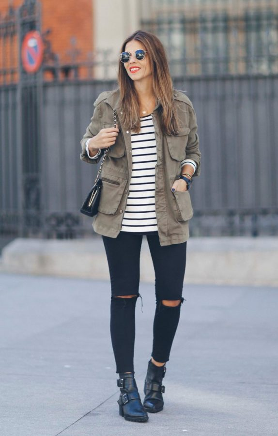 stripe top with cargo jackets outfit bmodish