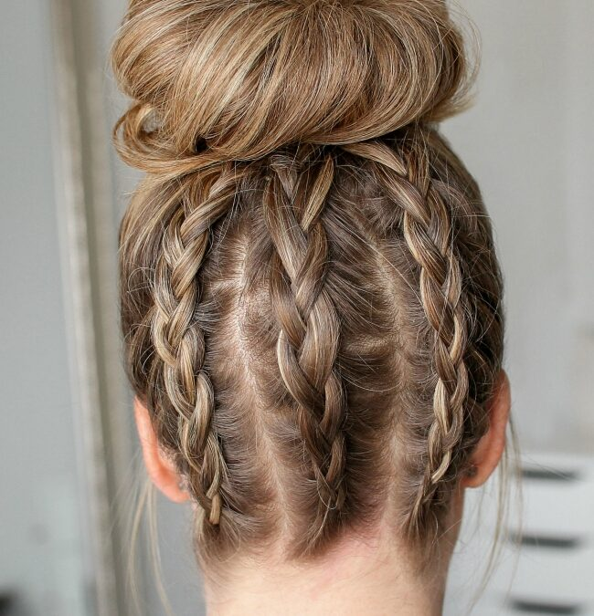 Triple-Dutch Braids High Bun | Hair Tutorial