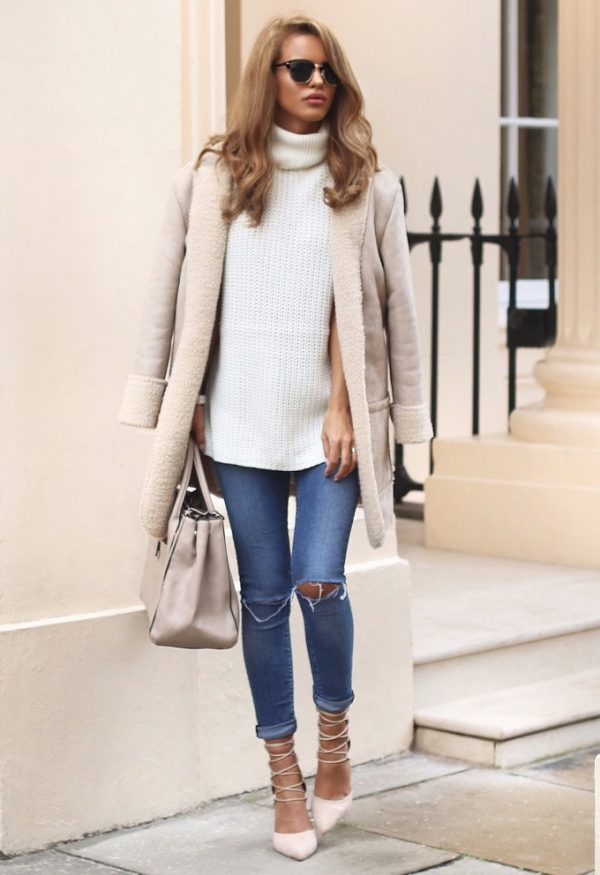cream neutral shearling jacket with lace up heels fall outfit bmodish