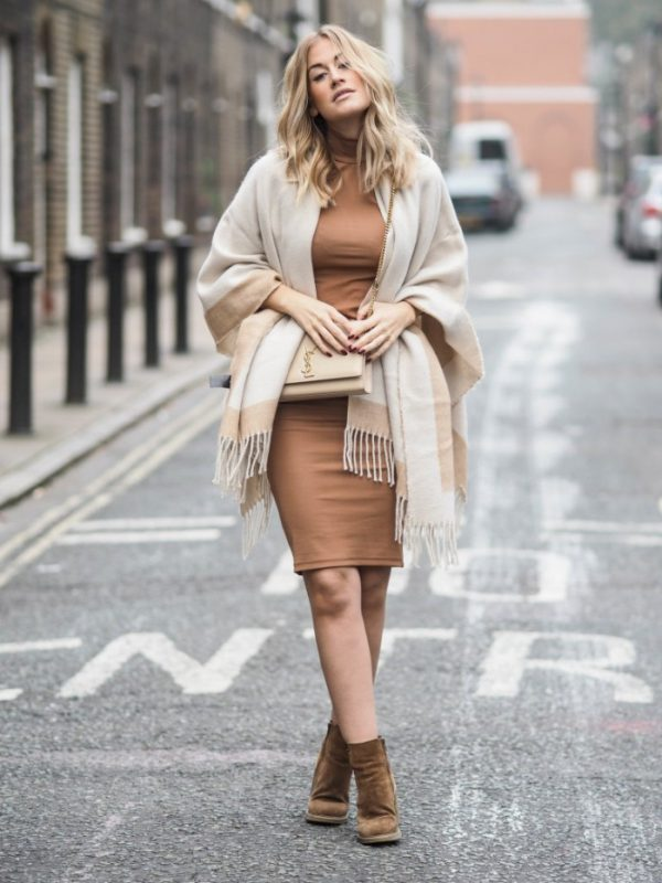 neutral scarf fall outfit bmodish