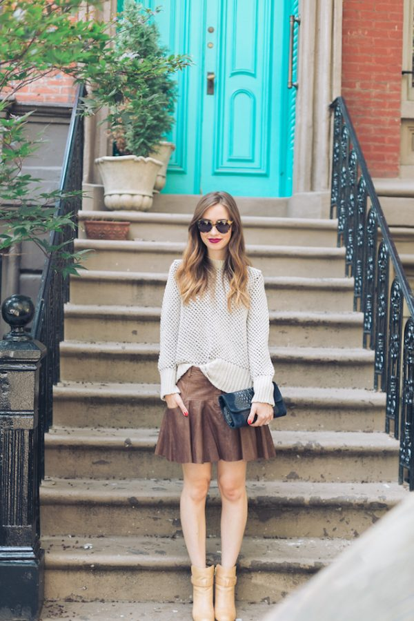 leather mini skirt with sweater bmodish