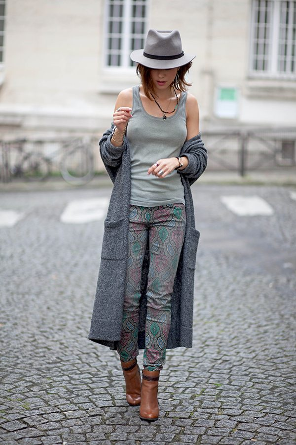 long coat printed pants booties bmodish